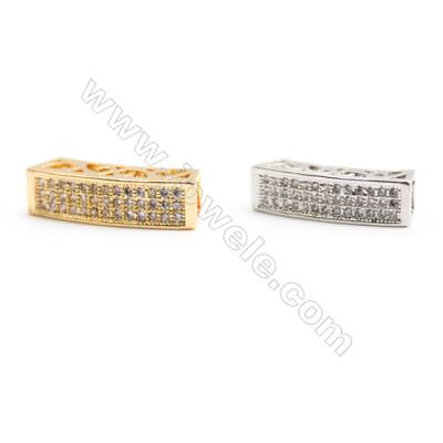 Gold-Plated (Rhodium Plated) Cubic Zirconia Brass Beads  Bridge  Size 19x6x5mm  Hole 4mm   20pcs/pack
