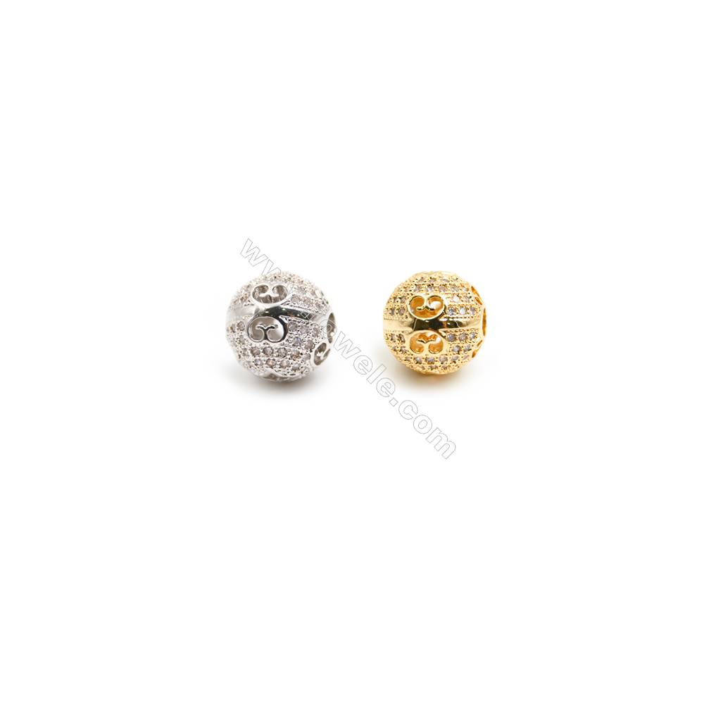 Gold-Plated (Rhodium Plated) Cubic Zirconia Brass Spacer Beads  Round  Diameter 11mm  Hole 3mm   20pcs/pack