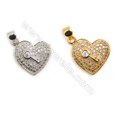 Gold-Plated (Rhodium Plated) Cubic Zirconia Brass Pendant Component  Heart  Size 14x15mm   20pcs/pack