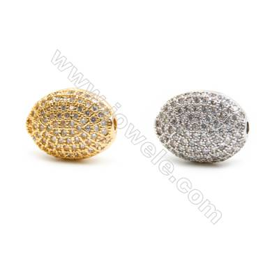 Gold-Plated (Rhodium Plated) Cubic Zirconia Brass Beads, Oval, Size 10x14mm, Hole 1.5mm, 20pcs/pack