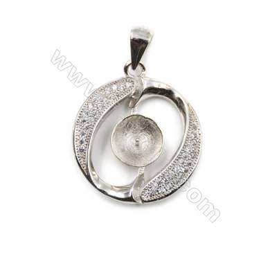 Zircon inlaid 925 sterling silver platinum plated pendant, 20x23 mm, x 5 pcs, tray 8mm, needle 0.5mm