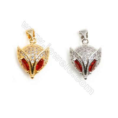 Gold-Plated (Rhodium Plated) Cubic Zirconia Brass Pendant  Mask  Size 13x18mm  20pcs/pack