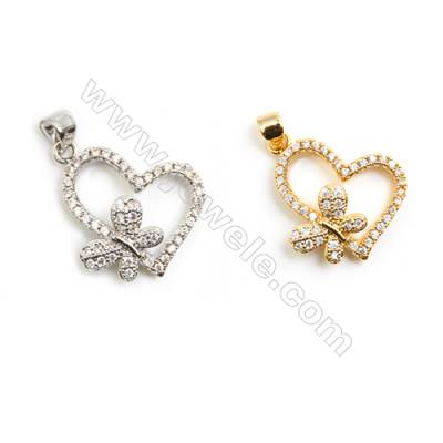 Gold-Plated (Rhodium Plated) Cubic Zirconia Brass Pendant  Butterfly  Size 16x21mm  40pcs/pack