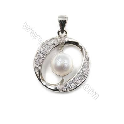 Zircon inlaid 925 sterling silver platinum plated pendant-D5475 20x23 mm x 5 pcs diameter of disc 8mm needle diameter 0.5mm