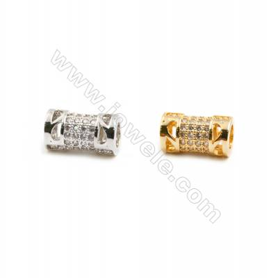 Gold-Plated (Rhodium Plated) Cubic Zirconia Brass Beads  Column  Size 6x12mm  Hole 4mm   20pcs/pack