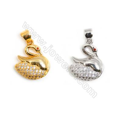 Gold-Plated (Rhodium Plated) Cubic Zirconia Brass Pendant  Swan  Size 14x17mm  30pcs/pack
