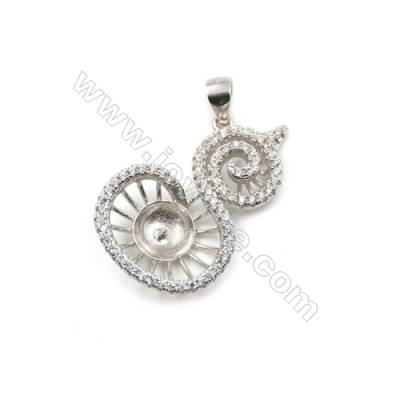 925 sterling silver platinum plated inlaid zircon pendant, 18x27mm, x 5pcs, tray 7mm, needle 0.4mm