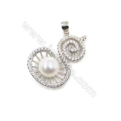 925 sterling silver platinum plated inlaid zircon pendant-D5765 18x27mm x 5pcs disc diameter 7mm needle diameter 0.4mm