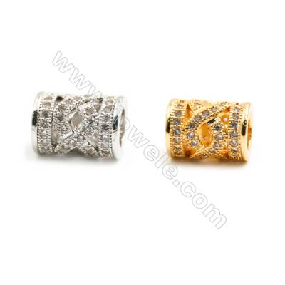 Gold-Plated (Rhodium Plated) Cubic Zirconia Brass Beads, Column, Size 8x10mm, Hole 4.5mm, 20pcs/pack