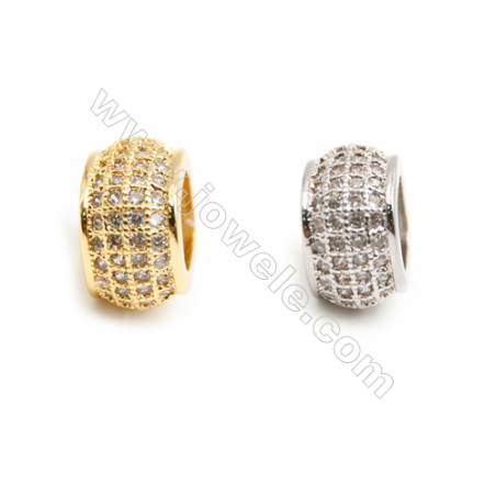 Gold-Plated (Rhodium Plated) Cubic Zirconia Brass Spacer Beads  Square  Size 10x10mm  Hole 6mm   20pcs/pack