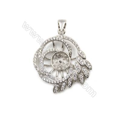 Platinum plated inlaid zircon sterling silver pendant, 25x29 mm, x 5 pcs, tray 8mm, pin 0.6mm