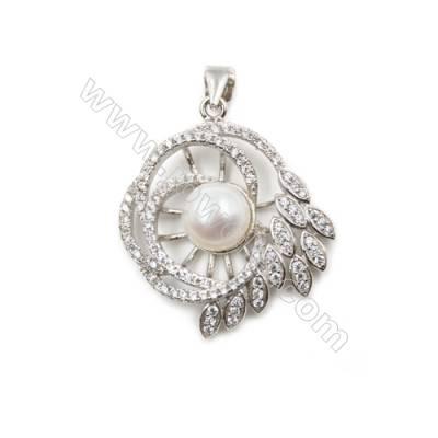 Platinum plated inlaid zircon  sterling silver pendant-D5398 25x29 mm x 5 pcs disc diameter 8mm pin diameter 0.6mm