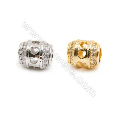 Gold-Plated (Rhodium Plated) Cubic Zirconia Brass Beads, Column, Size 10x10mm, Hole 4.5mm, 30pcs/pack
