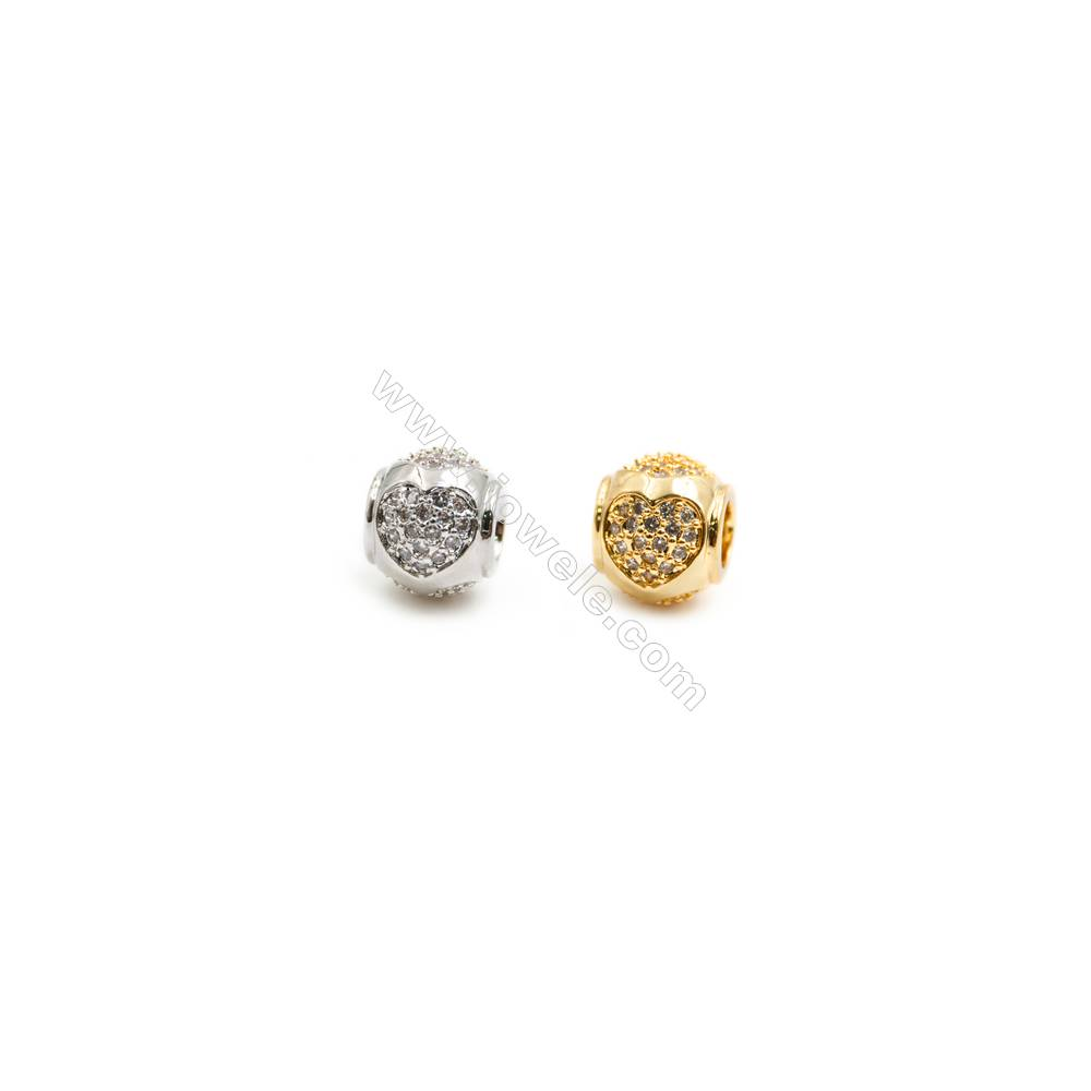 Gold-Plated (Rhodium Plated) Cubic Zirconia Brass Beads Charms  Round  Diameter 11mm  Hole 4.5mm   20pcs/pack
