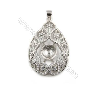 Wholesale sterling silver platinum plated pendant with inlaid zircon, 25x38mm, x 5pcs, tray 9mm, needle 0.4mm