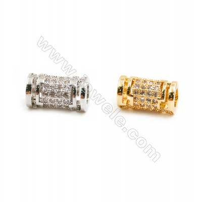 Gold-Plated (Rhodium Plated) Cubic Zirconia Brass Beads, Column, Size 6x11mm, Hole 3.5mm, 20pcs/pack