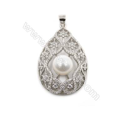 Wholesale sterling silver platinum plated pendant with inlaid zircon-D5748 25x38mm x 5pcs diameter 9mm needle diameter 0.4mm