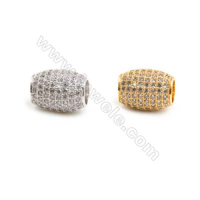 Gold-Plated (Rhodium Plated) Cubic Zirconia Brass Beads, Barrel, Size 10x13mm, Hole 4.5mm, 10pcs/pack