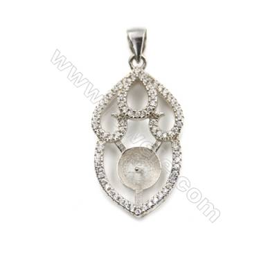 Platinum plated sterling silver inlaid zircon pendant, 15x29mm, x 5pcs, tray 7mm, needle 0.7mm