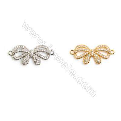 Gold-Plated (White gold Plated), Cubic Zirconia, Brass Connector, Butterfly, Size 13x29mm, 20pcs/pack