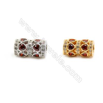 Gold-Plated (Rhodium Plated) Cubic Zirconia Brass Beads, Column, Size 8x14mm, Hole 3.5mm, 5pcs/pack