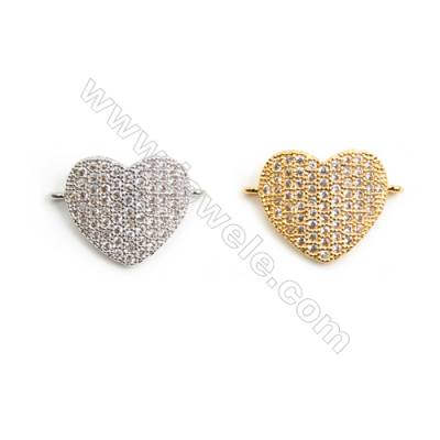 Gold-Plated, (White gold Plated), Cubic Zirconia Brass Connector, Heart, Size 13x19mm, 20pcs/pack