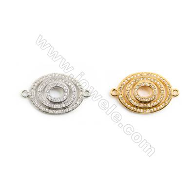 Gold-Plated (White gold Plated) Cubic Zirconia Brass Connector, Oval, Size 15x26mm, 20pcs/pack