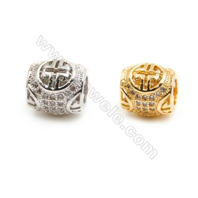Gold-Plated (Rhodium Plated) Cubic Zirconia Brass Beads, Round, Size 9x9mm, Hole 4.5mm, 30pcs/pack