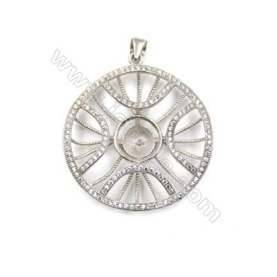 925 Sterling silver zircon paved pendant, 34mm, x 5 pcs, tray 11mm, needle 0.4mm