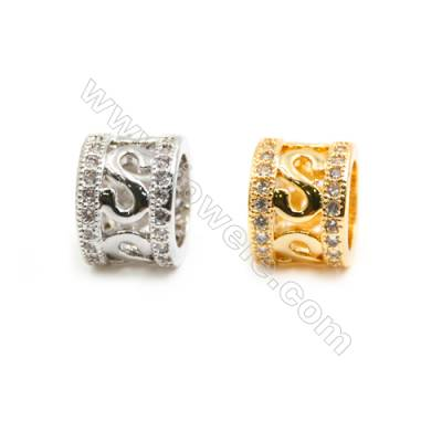 Gold-Plated (Rhodium Plated) Cubic Zirconia Brass Beads Charms  Column  Size 9x9mm  Hole 4.5mm   30pcs/pack