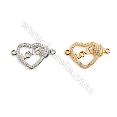 Gold-Plated (White gold Plated) Cubic Zirconia Brass Connector, Heart, Size 15x26mm, 30pcs/pack