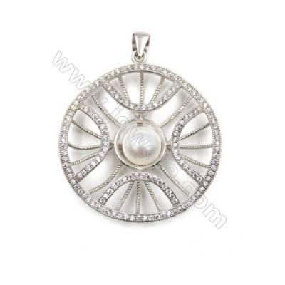 925 Sterling silver zircon paved pendant-D5629 34mm x 5 pcs disc diameter 11mm needle diameter 0.4mm