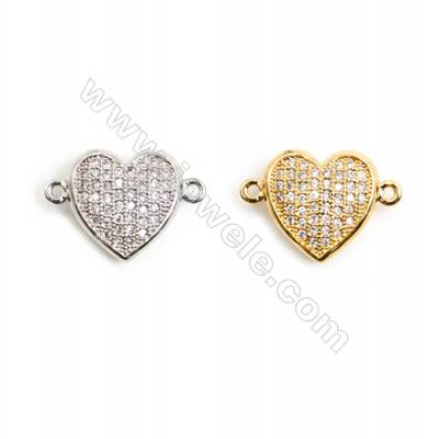 Gold-Plated (White gold Plated) Cubic Zirconia Brass Connector, Heart, Size 11x17mm, 5pcs/pack