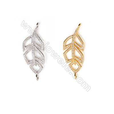 Gold-Plated (White gold Plated) Cubic Zirconia Brass Connector, Leaf, Size 15x39mm, 20pcs/pack