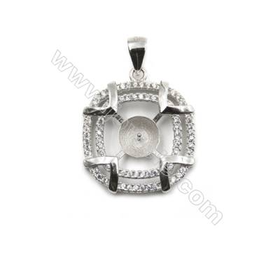 Inlaid zircon 925 sterling silver platinum plated pendant, 20mm, x 5pcs, tray 7mm, pin 0.6mm