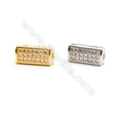 Gold-Plated (Rhodium Plated) Cubic Zirconia Brass Beads, Rectangle, Size 5x11mm, 40pcs/pack