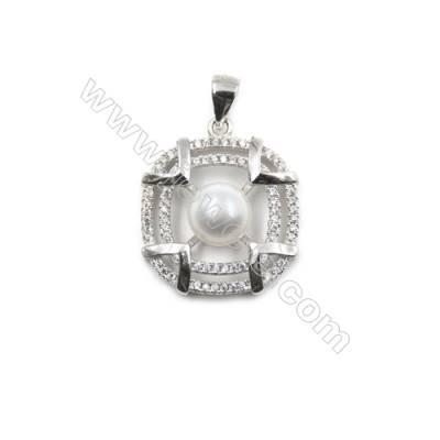 Inlaid zircon  925 sterling silver platinum plated pendant-D5491 20mm x 5pcs disc diameter 7mm pin diameter 0.6mm