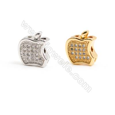 Gold-Plated (Rhodium Plated) Cubic Zirconia Brass Beads, Apple, Size 9x11mm, 30pcs/pack