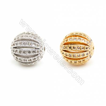 Gold-Plated (Rhodium Plated) Cubic Zirconia Brass Beads Charms  Round  Diameter 10mm  Hole 1mm   20pcs/pack
