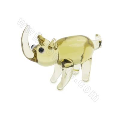 Lampwork beads green rhino...
