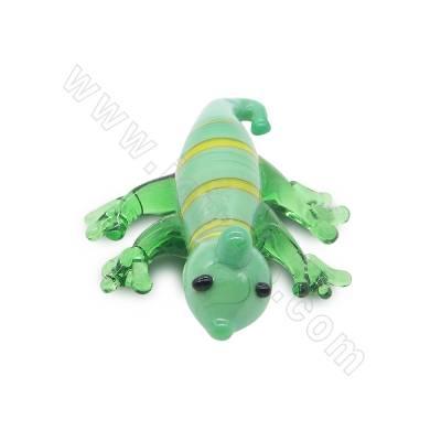 Lampwork beads green lizard...