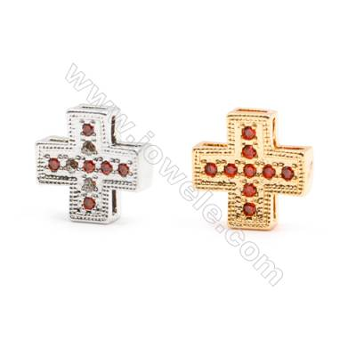 Gold-Plated (Rhodium Plated) Cubic Zirconia Brass Beads, Cross, Size 11x11mm, 30pcs/pack
