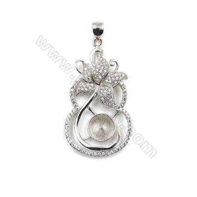 Inlaid zircon  925 sterling silver platinum plated pendant, 21x37mm, x 5pcs, tray 8mm, needle 0.7mm