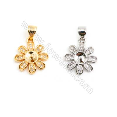 Gold-Plated (Rhodium Plated) Cubic Zirconia Brass Pendant  Flower  Size 10x12mm  Tray 4.5mm  Pin 0.6mm  40pcs/pack