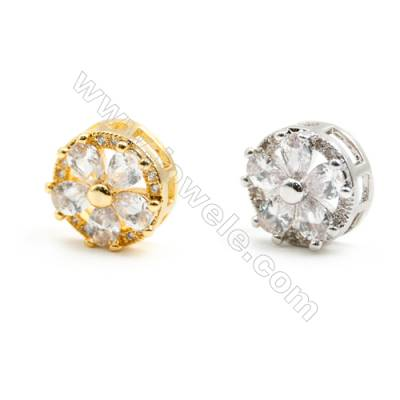 Gold-Plated (Rhodium Plated) Cubic Zirconia Brass Beads, Flower, Size 5x10mm, 20pcs/pack