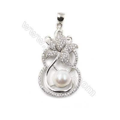 Inlaid zircon  925 sterling silver platinum plated pendant -D5617 21x37mm x 5pcs disc diameter 8mm needle diameter 0.7mm