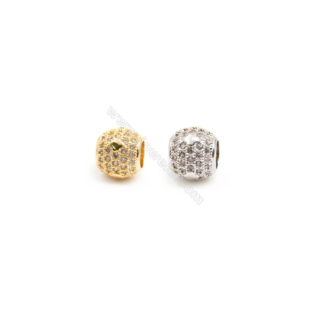 Gold-Plated (Rhodium Plated) Cubic Zirconia Brass Beads Charms  Round  Diameter 8mm  Hole 4mm   20pcs/pack
