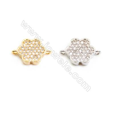 Gold-Plated (White gold Plated) Cubic Zirconia Brass Connector, Flower, Size 8x13mm, 30pcs/pack