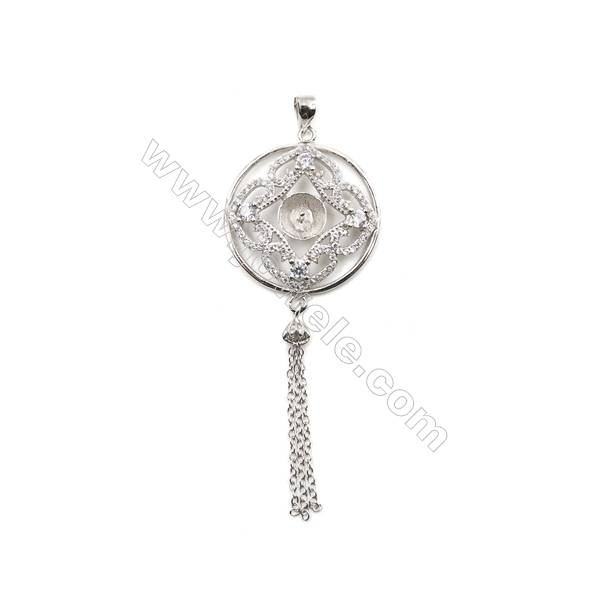 925 sterling silver platinum plated zircon fringed pendants, 24mm, x 5 pcs, tray 7mm, needle 0.7mm