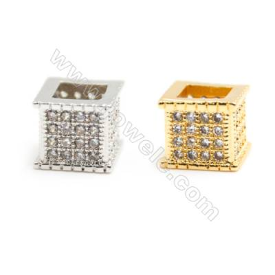 Gold-Plated (Rhodium Plated) Cubic Zirconia Brass Beads Charms  Square  Size 7x7mm  20pcs/pack